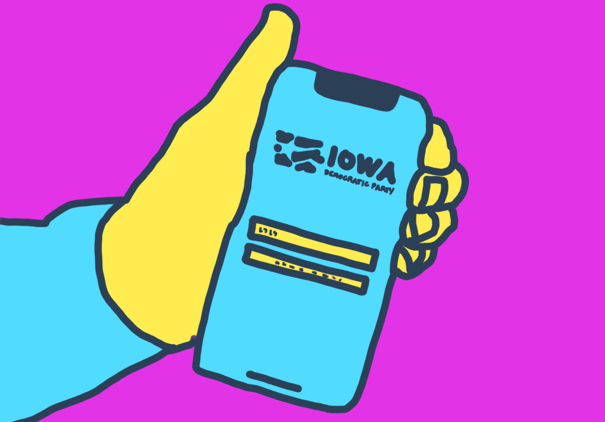 Illustration of Iowa caucus voting app for The Latest with Greg Ott podcast