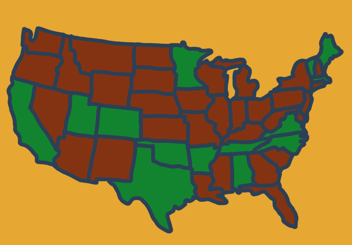 Illustration of the Super Tuesday states for The Latest with Greg Ott podcast